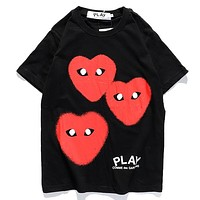 Play New fashion letter love heart print couple top t-shirt Black