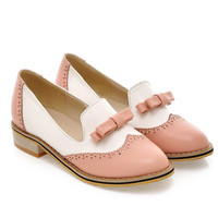 Sweet college style round toe Oxford shoes fashion mix color bowknot adornment black blue purple pink low heels women shoes