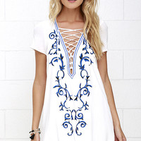 Down in Kokomo Ivory Embroidered Shift Dress
