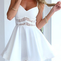 White Spaghetti Strap Lace Waist Skater Dress