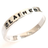 CLAIMED - Sterling Silver - stacking rings, Poesy Ring, Deployment ring