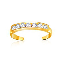 Cubic Zirconia Accented Toe Ring in 14K yellow Gold