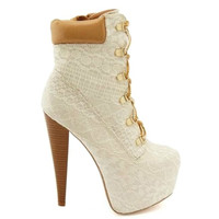 Pratt-04X Ivory Lace Platform Ankle Bootie Lace up High Heel Shoes