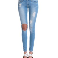 Let It Rip Skinny Denim Jeans - Distressed