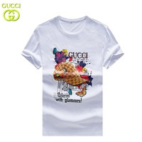 GUCCI New fashion letter floral cap print couple top t-shirt White
