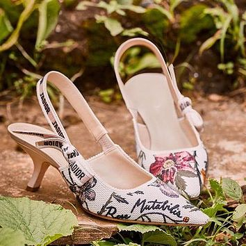 Dior CD new ladies pointed toe embroidery bow sexy cat heels letter ribbon high heels women's shoes sandals