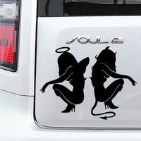Car Sticker 14*11 CM Angel and Devil Pattern Decals Fun Motorcycle Stickers Car Accessories @251111