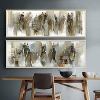 african art abstract painting Horizontal rectangle Long painting posters and prints canvas wall art pictures for living room