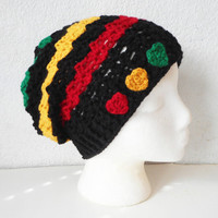 Rasta Stripes Skullcap Beanie Hat in Black, Red, Yellow and Green, ready to ship.