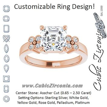 Cubic Zirconia Engagement Ring- The Heidi Grethe (Customizable 9-stone Design with Asscher Cut Center and Complementary Quad Bezel-Accent Sets)