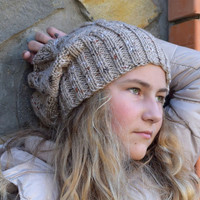 Slouchy knit beanie-Womens girls teenagers hat-hand knitted chunky beanie-slouch hat-Wool hippie hats-winter accessories-gray beige beanie