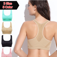 [5Colour/3size] Absorb Sweat Professional Sports Bra , Gym Fitness Seamless Sports Bra Stretch , Women's thin Tank Top Vest