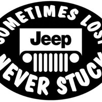 Jeep - Sometimes Lost But NEVER STUCK - Decal (oval)