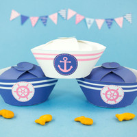Nautical Party Favor boxes DIY, Printable Girls Navy Blue and Pink Sailor Hat favor box,Girl's Baby Shower favors