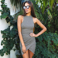 ♡ gray sleeveless knitted casual dress ♡