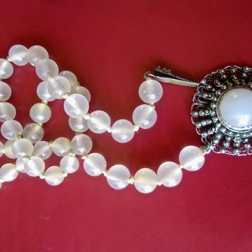 Nephrite White Jade Bead Necklace Translucent, Silver Tone Medallion Clasp, Old Chinese Vintage Antique