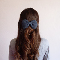 Hand Knit Bow Hair Clip in Grey Blue