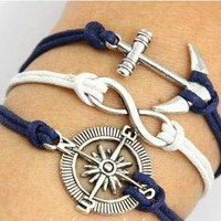 Vintage Anchor Leather Rope Compass Infinity Bracelet by forevervintage on Zibbet
