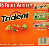 Trident Sugar Free Gum Fruit Variety Pack - 16 Packs of 18 Pieces