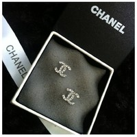 Sterling Silver Plated White Crystal Diamond Earrings.