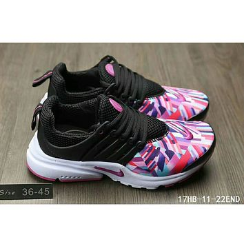 Nike Air Presto casual men and women sports running tide shoes F-HAOXIE-ADXJ Black + printing toe
