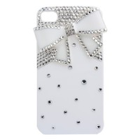 3d Bling & Bow Hard Shell Transparent Case for Apple Iphone 4 and 4s (White)