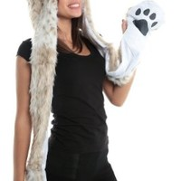 Snow Leopard Faux Fur Full Animal Hood Hoodie Hat with Paws Mittens Gloves New by HatButik
