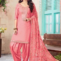Buy Pink Art Chanderi Silk Patiala Suit, patiala-suit Online Shopping, SLSCC15004