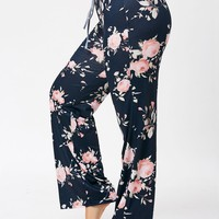 Plus Size Drawstring Floral Pajamas Pants