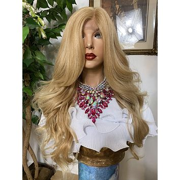 """HONEY BLONDE #27' 26"""" Long Body Curl layered Lace Front wig *Ready to wear+ *Fabulous *invisible hairline *natural looking *human hair blend"""