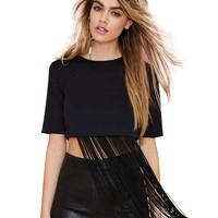 Short Sleeve Fringed Cropped Top