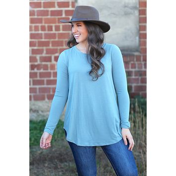 {Blue Grey} Best Basic Long Sleeve Tunic Top