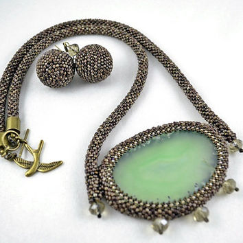 Tree Bark Bead Embroidery Necklace Beadwork with Agate