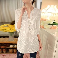 New Summer Women Blouses Flower Print Blouse V-neck Organza Embroidered Shirt White Lace Blouse Tops