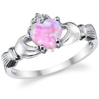 Sterling Silver 925 Irish Claddagh Friendship & Love Ring with Pink Simulated Opal Heart 4