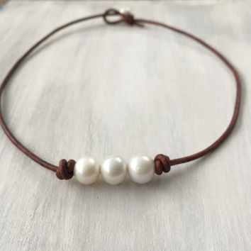 Freshwater pearl necklace, leather and pearls, pearl necklace, pearls on leather, large hole pearls freshwater pearl necklace