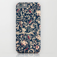 Navy Garden - floral doodle pattern in cream, dark red & blue iPhone & iPod Case by Micklyn