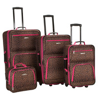 Rockland Leopard 4-piece Expandable Luggage Set | Overstock.com