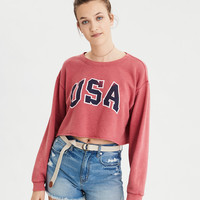 AE Super Cropped Crewneck Sweatshirt, Red