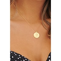 Vintage Letter D Coin Necklace (Gold)
