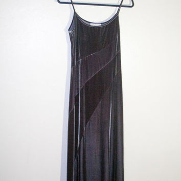 90s 1990s grey silver velvet maxi dress, formal evening gown spaghetti strap, hipster soft grunge urban outfitters prom