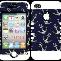 Bumper Case for Apple iphone 4 4G 4S Anchor Pattern hard plastic snap on over White Silicone Gel