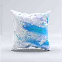 The Blue Watercolor on White ink-Fuzed Decorative Throw Pillow