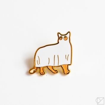 Ghost Kitty Enamel Pin