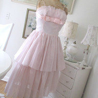 Vintage Pink Dress * Shabby Chic * Wedding * Prom * Bridesmaid