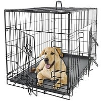 """New Black 48"""" Pet Cage Kennel For Dogs & Cats With ABS Tray"""