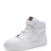 Rockstud Camo High-Top Sneaker, White