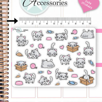 Kawaii Cats Stickers Cute Cats Stickers Cats Stickers Planner Stickers Erin Condren Functional Stickers Decorative Stickers NR663