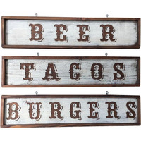 Handcrafted Wood Beer, Tacos, Burgers Rustic Kitchen Wall Decor