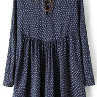 Navy Wheat Print Lace Up Long Sleeve Pleated A-Line Mini Dress
